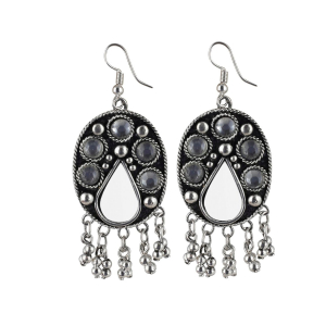 Generic Women's Alloy, Metal Hook Dangler Hanging Earrings-Silver