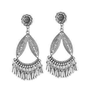 Generic Women's Silver Plated Hook Dangler Hanging Earrings-Silver