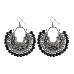 Generic Women's Onyx Stone, Silver  plated Hook Dangler Hanging Fashion Earrings-Silver