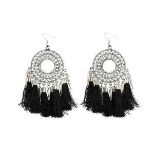 Generic Women's Silver Plated Hook Dangler Hanging Tassel Earrings-Silver