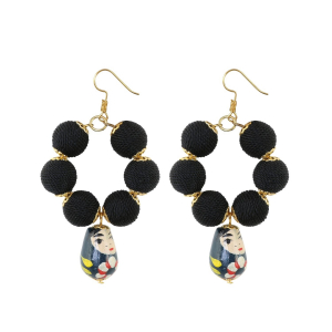 Generic Women's Alloy, Thread Hook Dangler Hanging Hand painted Earrings-Black