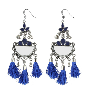 Generic Women's Silver Plated Afgani Tassel Earrings-Blue