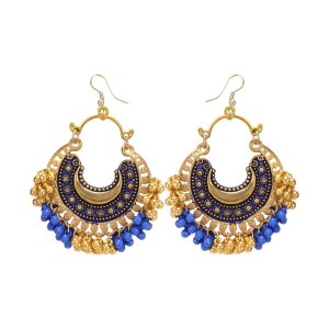 Generic Women's Golden plated Hook Dangler Hanging Earrings-Blue, Golden
