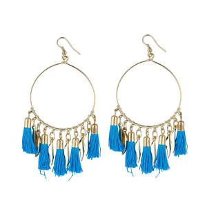 Generic Women's Alloy Hook Dangler Hanging Tassel Earrings-Blue