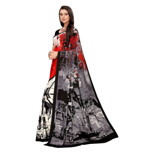 Generic Women's Crepe Saree With Blouse (Grey, 5-6 Mtrs)