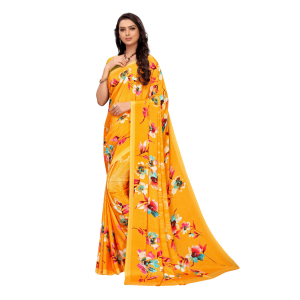 Generic Women's Crepe Saree With Blouse (Orange, 5-6 Mtrs)