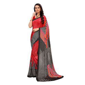 Generic Women's Crepe Saree With Blouse (Red, 5-6 Mtrs)