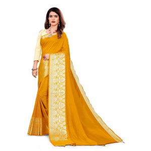 Generic Women's Vichitra Silk Saree With Blouse (Mustard, 5-6 Mtrs)