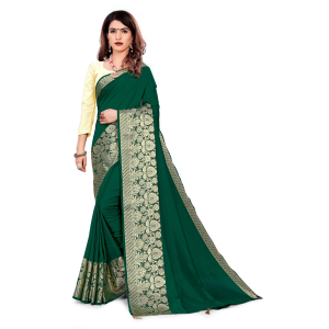 Generic Women's Vichitra Silk Saree With Blouse (Green, 5-6 Mtrs)