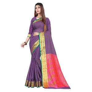 Generic Women's Cotton, Jacquard Saree With Blouse (Violet, 5-6 Mtrs)