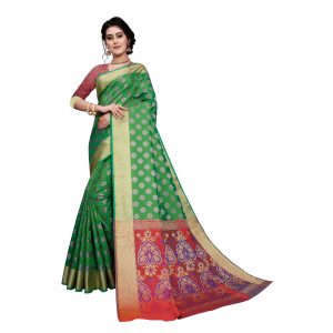 Generic Women's Sana Silk Jacquard Saree With Blouse (Green, 5-6 Mtrs)