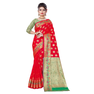 Generic Women's Banarsi Silk Saree With Blouse (Red, 5-6 Mtrs)