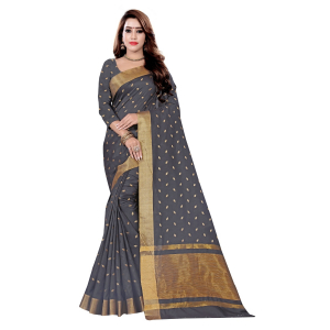 Generic Women's Art Silk Saree With Blouse (Black, 5-6 Mtrs)