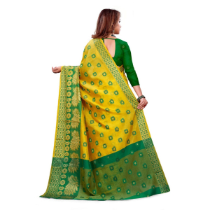 Generic Women's Art Silk, Jacqaurd Saree With Blouse (Yellow, 5-6 Mtrs)