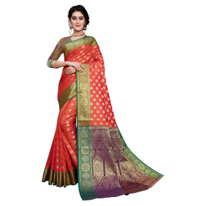 Generic Women's Sana Silk Jacquard Saree With Blouse (Orange, 5-6 Mtrs)