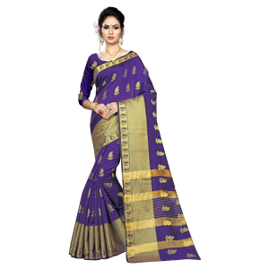 Generic Women's Silk Blend Saree With Blouse ( Blue, 5-6 Mtrs)