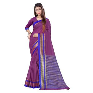Generic Women's Cotton, Jacquard Saree With Blouse (Wine, 5-6 Mtrs)
