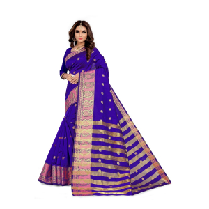 Generic Women's Silk Blend Jacqaurd Saree With Blouse (Violet, 5-6 Mtrs)