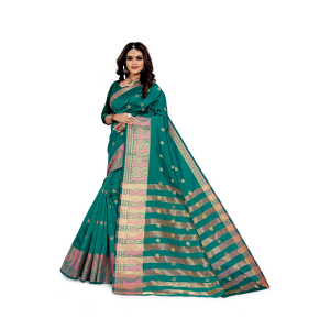 Generic Women's Silk Blend Jacqaurd Saree With Blouse (Green, 5-6 Mtrs)