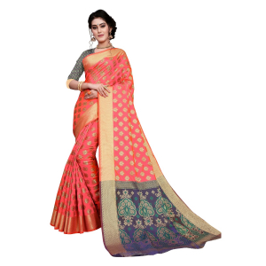 Generic Women's Sana Silk Jacquard Saree With Blouse (Peach, 5-6 Mtrs)