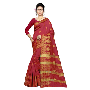 Generic Women's Silk Blend Saree With Blouse (Maroon, 5-6 Mtrs)
