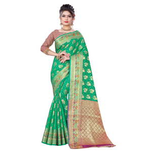 Generic Women's Banarsi Silk Saree With Blouse (Green, 5-6 Mtrs)