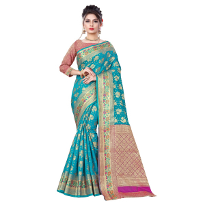 Generic Women's Banarsi Silk Saree With Blouse (Ferozi, 5-6 Mtrs)