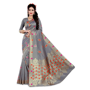 Generic Women's Semi Banarasi Silk Saree With Blouse (Grey, 5-6 Mtrs)