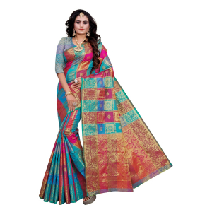 Generic Women's Sana Silk, Jacqaurd Saree With Blouse (Multi Colored, 5-6 Mtrs)