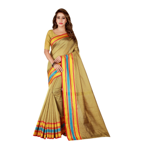 Generic Women's Poly Cotton Saree With Blouse (Beige, 5-6 Mtrs)