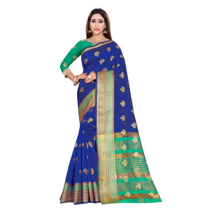 Generic Women's Art Silk Saree With Blouse (Blue, 5-6 Mtrs)