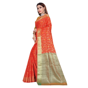 Generic Women's Banarasi Silk Saree With Blouse (Red, 5-6 Mtrs)