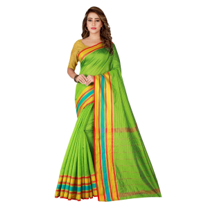 Generic Women's Poly Cotton Saree With Blouse (Green, 5-6 Mtrs)