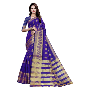 Generic Women's Art Silk, Jacqaurd Saree With Blouse (Purple, 5-6 Mtrs)