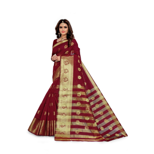 Generic Women's Silk Blend,Jacqaurd Saree With Blouse (Maroon, 5-6 Mtrs)