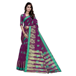Generic Women's Art Silk, Jacqaurd Saree With Blouse (Wine, 5-6 Mtrs)