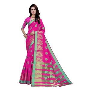 Generic Women's Art Silk, Jacqaurd Saree With Blouse (Pink, 5-6 Mtrs)