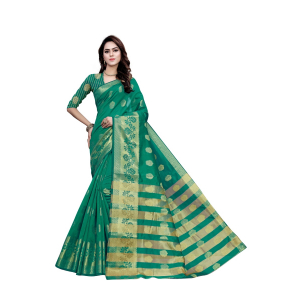 Generic Women's Art Silk, Jacqaurd Saree With Blouse (Green, 5-6 Mtrs)