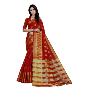 Generic Women's Art Silk, Jacqaurd Saree With Blouse (Red, 5-6 Mtrs)