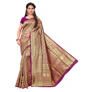 Turvi Women's Banarasi silk Saree with Blouse (Purple, 5-6mtr)