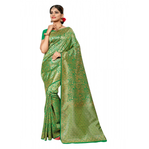 Generic Women's Banarasi silk Saree with Blouse (Light green, 5-6mtr)
