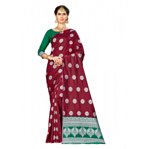 Turvi Women's Banarasi silk Saree with Blouse (Maroon, 5-6mtr)
