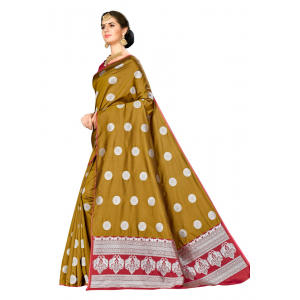 Generic Women's Banarasi silk Saree with Blouse (Mustard, 5-6mtr)