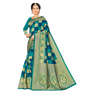 Turvi Women's Banarasi silk Saree with Blouse (Multi, 5-6mtr)