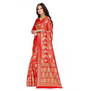Generic Women's Banarasi silk Saree with Blouse (Red, 5-6mtr)