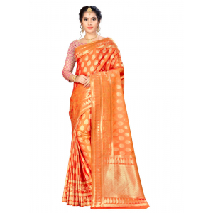 Generic Women's Banarasi silk Saree with Blouse (Orange, 5-6mtr)
