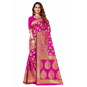 Turvi Women's Banarasi silk Saree with Blouse (Pink, 5-6mtr)