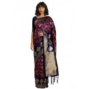 Turvi Women's Banarasi silk Saree with Blouse (Navy blue, 5-6mtr)