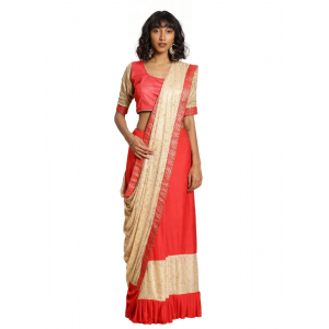 Turvi Women's Malai Saree with Blouse (Peach, 5-6mtr)