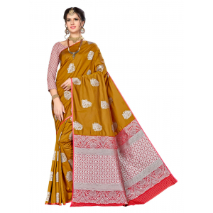 Turvi Women's Banarasi silk Saree with Blouse (Mustard, 5-6mtr)